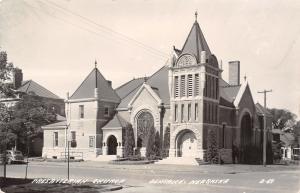 Beatrice Nebraska~Presbyterian Church on Corner~House to Right~1940s RPPC