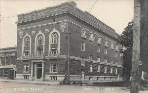 LP48 Charlotte  Michigan  Postcard RPPC Masonic Temple