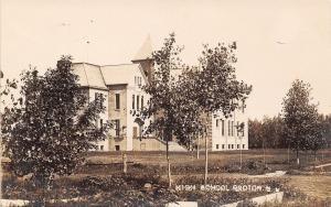Groton South Dakota~New Fruit Trees by High School~1910 Postcard RPPC