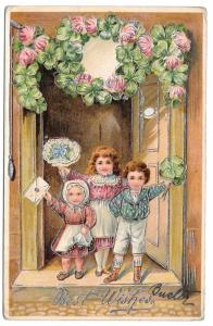 Best Wishes Children Girl Boy Shamrocks 1908 Silver Gilt
