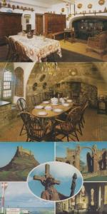 Lindisfarne Castle Multi View Kitchen Dining Room Food Area 3 x Mint Postcard s