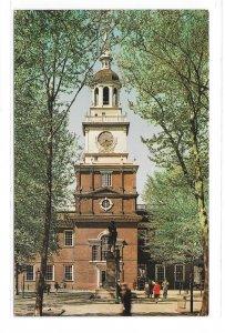 Independence Hall Philadelphia PA South Side Facade Park Entrance Vntg Postcard