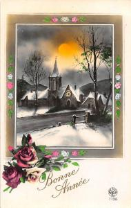 Bonne Annee, New Year, roses, winter hiver church eglise scenery sunset