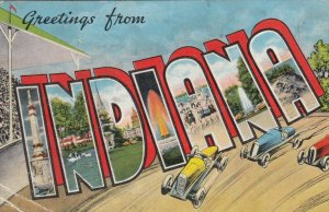 Large Letter Greetings from INDIANA , 1900-10s; Views in letters, Racecars