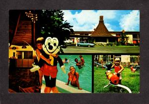 FL Gateway Inn Motel Orlando Florida Postcard Mickey Mouse Pool Sweden House