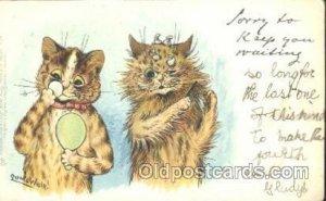Artist Louis Wain Cat writing on back light crease left top corner tip, writi...