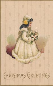 CHRISTMAS; Greetings, Girl wearing bonnet holding bouquet of flowers, 00-10s
