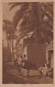 Children riding a donkey, Village arabe, 10-20s ; Egypt