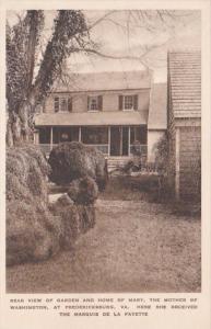 Virginia Fredericksburg Rear View Of Garden & House At Home Of Mary Mothe...