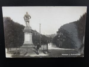 Espana Spain VIGO Statue Alameda y Jardines - Old RP Postcard