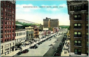 1940s OGDEN, Utah Postcard WASHINGTON BOULEVARD Looking North Kropp Linen