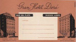 Argentina Mar Del Plata Buenos Aires Gran Hotel Dora Vintage Luggage Tag sk4070