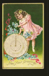 Postmark 1908 Buffalo NY New Years Greetings Tuck & Sons Embossed Postcard