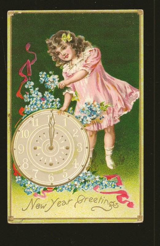 Postmark 1908 Buffalo NY New Years Greetings Tuck & Sons Embossed Postcard