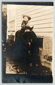 Real Photo Postcard~Little Boy Cowboy Garb on Shetland Pony~Hat~Bandanna~1930s
