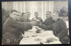 Mint Germany  Real picture Postcard RPPC Military Soldiers Toast