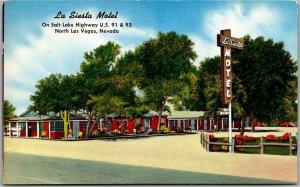 North Las Vegas, Nevada Postcard LA SIESTA MOTEL Highway 91 Roadside 1957 Cancel
