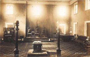 Jordan NY Interior Masonic Hall in 1915 RPPC Postcard