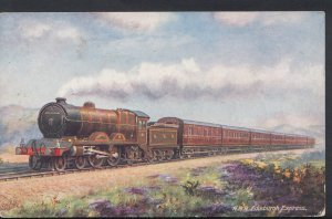 Railway Transport Postcard - North British Railway - Edinburgh Express Train ...
