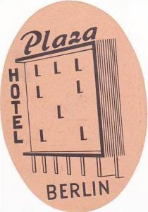 GERMANY BERLIN PLAZA HOTEL VINTAGE LUGGAGE LABEL