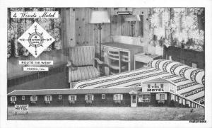 1950s 4 Winds Motel Interior Peoria Illinois postcard 12378