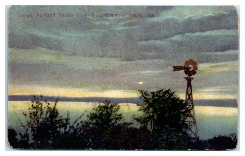 Early 1900s Sunset, Portland Harbor from Great Diamond Island, Maine Postcard
