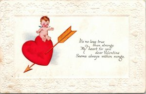 Antique Postcard Valentines Day Embossed Vintage  Cupid Early Heart 1900s
