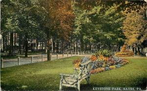 Sayre Pennsylvania~Keystone Park~Long Wooded Road~Rustic Bench~Autumn~1912