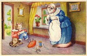 CATS PC Cat mom, her kitten and the torn trousers (a2061)