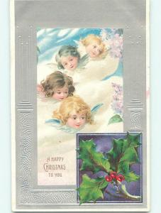 Unused Divided-Back christmas FOUR CUTE ANGEL FACES IN THE CLOUDS r4487