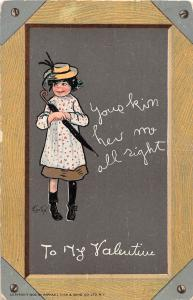 E5/ Valentine's Day Love Holiday Postcard 1909 Indianapolis Frame Border Girl 20