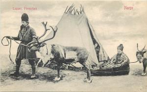 Norway Lapper Finmarken Scandinavia ethnic reindeer sledge Norge Lapp tent