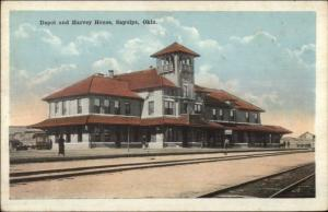 Sapulpa OK RR Train Depot Station & Harvey House c1920 Postcard
