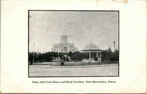 Vtg Postcard 1907 Plaza With Court House and Music Pavilion San Antonio TX