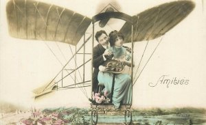 Airplane Couple Rose RP Fantasy French Surrealism postcard
