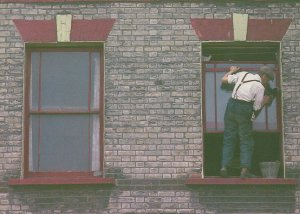 London 1980s Brave Window Cleaner Cleaning on Ledge Postcard