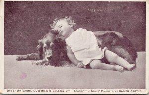 Dr. Barnardo's Children & Laddie Dog Babies Castle Postcard F24 *as is