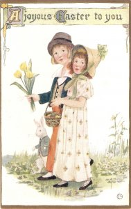 Young boy and girl. Easter Message Tuck Oilette Colonial Easter Ser. PC # 1027
