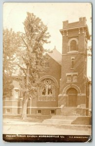 Morrisonville Illinois~Presbyterian Church~Knothole Tree~Stained Glass~RPPC 1915