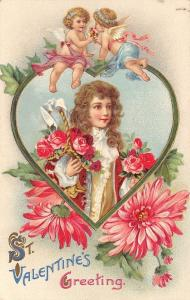 Valentine~Regency Man in Heart Frame~Gossamer Cupids on Top~Roses~Emboss~Germany