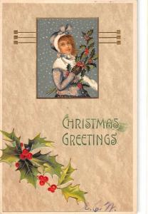Christmas Greeting Snow Woman Holly Antique Postcard K39349