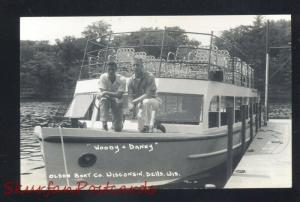 RPPC WISCONSIN DELLS WISCONSIN OLSON BOAT CO. ADVERTISING REAL PHOTO POSTCARD