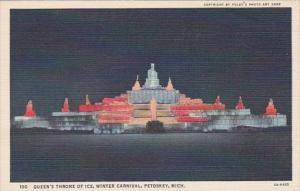 Michigan Petoskey Winter Carnival Queen's Throne Of Ice Curteich