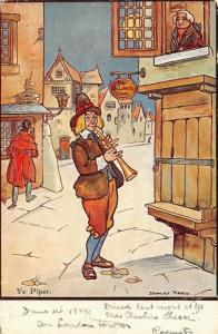Dudley Ward~Ye Piper~Man Plays Instrument At Butcher Shop~English Village~1904