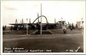 1959 OREGON CENTENNIAL EXPOSITION Portland RPPC Postcard Entrance Smith Photo