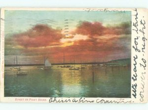 Pre-chrome BOAT SCENE Puget Sound - Seattle & Tacoma & Olympia WA AF5206