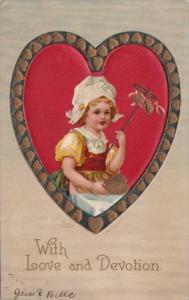 Valentine's Day Dutch Girl On Red Heart 1911