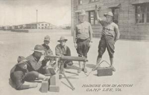 CAMP LEE, Virginia, 1910-20s; Machine Gun in Action