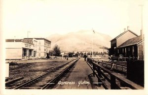 Carcross Yukon Canada Railroad and Street Scene Real Photo Postcard JI657391