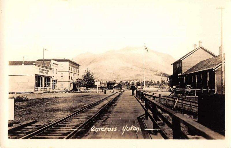 Carcross Yukon Canada Railroad and Street Scene Real Photo Postcard JI657391
